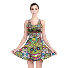 Sugar Skulls All Over Print Reversible Skater Dress by UniqueandCustomGifts