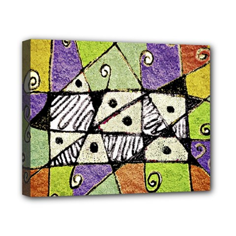 Multicolored Tribal Print Abstract Art Canvas 10  X 8  (framed) by dflcprints