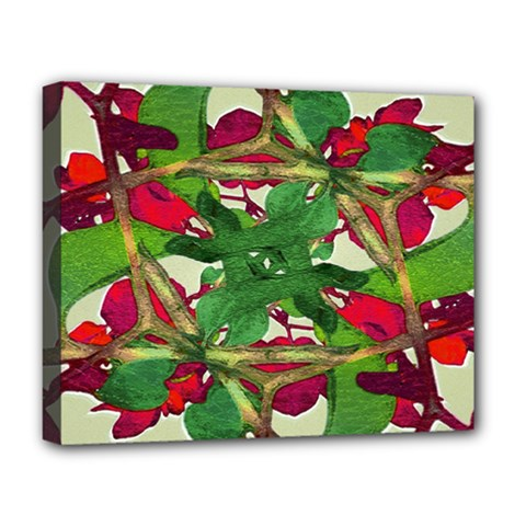 Floral Print Colorful Pattern Deluxe Canvas 20  X 16  (framed) by dflcprints