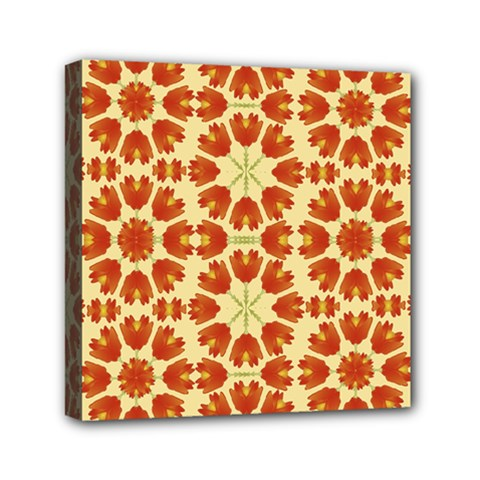 Colorful Floral Print Vector Style Mini Canvas 6  X 6  (framed) by dflcprints