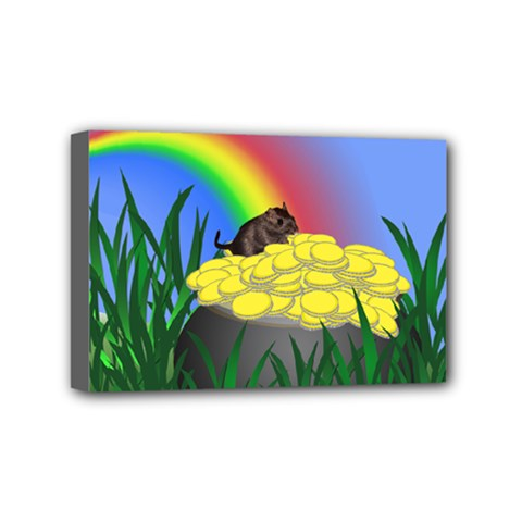 Pot Of Gold With Gerbil Mini Canvas 6  X 4  (framed) by designedwithtlc