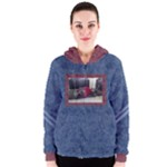 Burgundy and Blue Womens Zipper Hoodie - Women s Zipper Hoodie