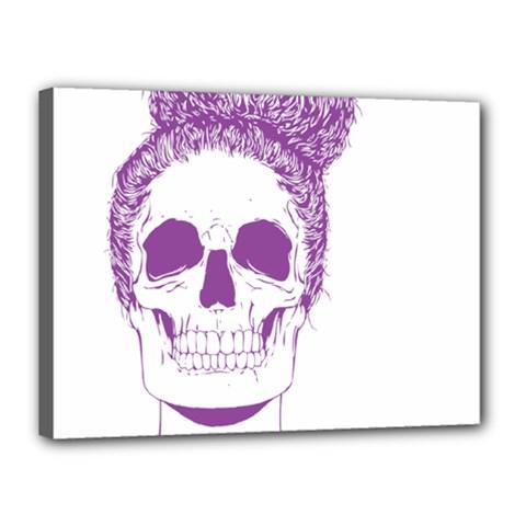 Purple Skull Bun Up Canvas 16  X 12  (framed) by vividaudacity