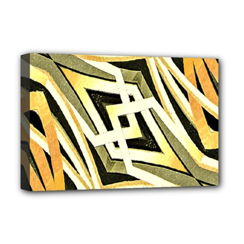 Art Print Tribal Style Pattern Deluxe Canvas 18  X 12  (framed) by dflcprints