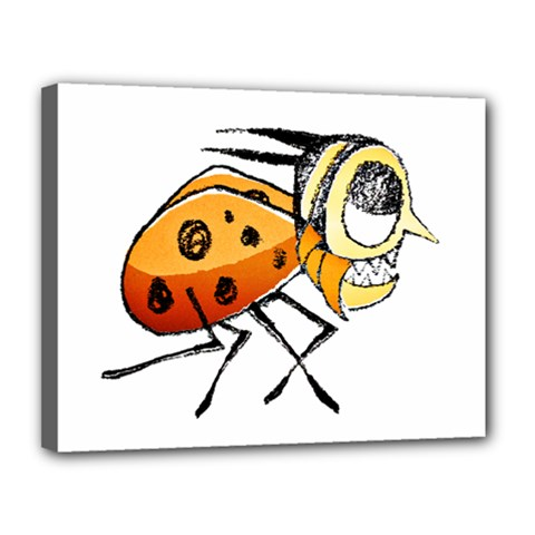 Funny Bug Running Hand Drawn Illustration Canvas 14  X 11  (framed) by dflcprints