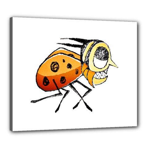 Funny Bug Running Hand Drawn Illustration Canvas 24  X 20  (framed) by dflcprints