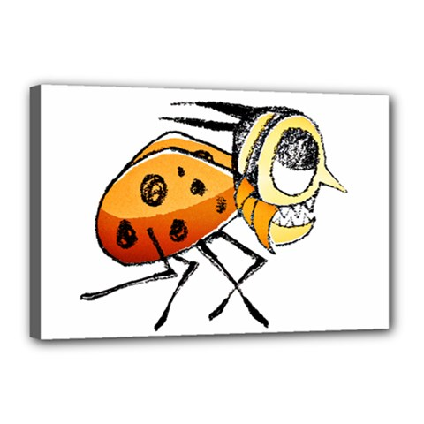 Funny Bug Running Hand Drawn Illustration Canvas 18  X 12  (framed) by dflcprints