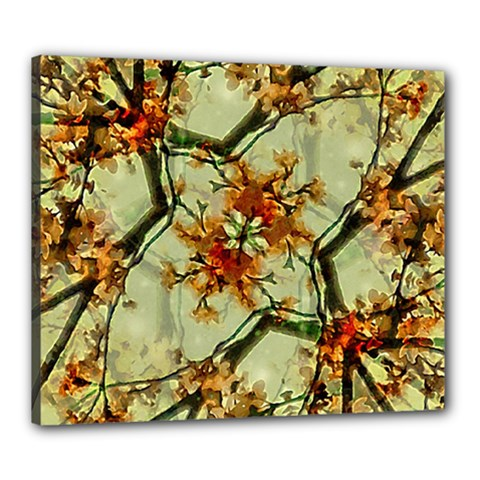 Floral Motif Print Pattern Collage Canvas 24  X 20  (framed) by dflcprints