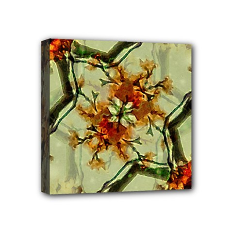 Floral Motif Print Pattern Collage Mini Canvas 4  X 4  (framed) by dflcprints