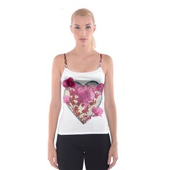 Heart Shaped With Flowers Digital Collage Spaghetti Strap Top
