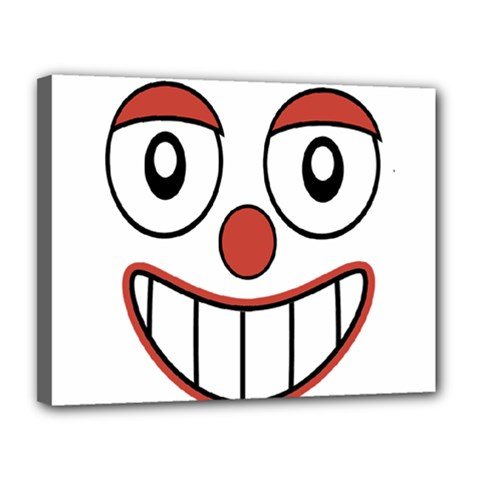 Happy Clown Cartoon Drawing Canvas 14  X 11  (framed) by dflcprints
