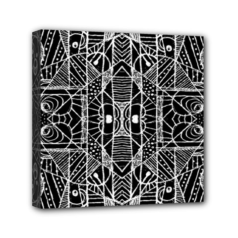 Black And White Tribal Geometric Pattern Print Mini Canvas 6  X 6  (framed) by dflcprints