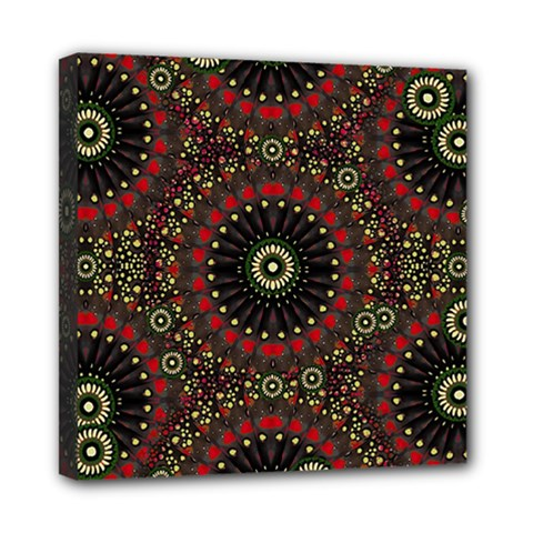 Digital Abstract Geometric Pattern In Warm Colors Mini Canvas 8  X 8  (framed) by dflcprints