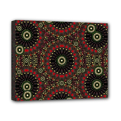 Digital Abstract Geometric Pattern In Warm Colors Canvas 10  X 8  (framed) by dflcprints