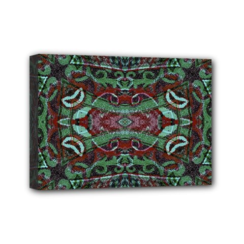 Tribal Ornament Pattern In Red And Green Colors Mini Canvas 7  X 5  (framed) by dflcprints