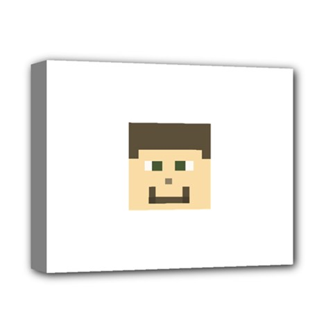 Custom Block Head Deluxe Canvas 14  X 11  (framed) by BlockCrafts