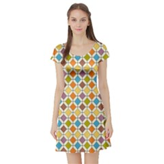 Colorful Rhombus Pattern Short Sleeved Skater Dress by LalyLauraFLM