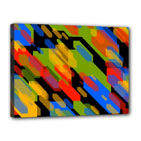 Colorful shapes on a black background Canvas 16  x 12  (Stretched) by LalyLauraFLM