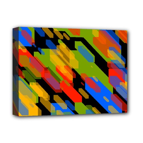 Colorful Shapes On A Black Background Deluxe Canvas 16  X 12  (stretched)  by LalyLauraFLM