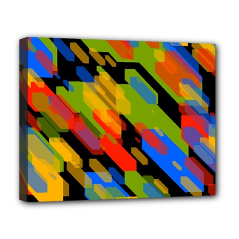 Colorful Shapes On A Black Background Deluxe Canvas 20  X 16  (stretched) by LalyLauraFLM