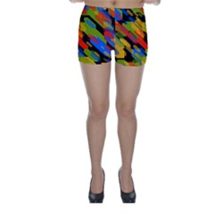 Colorful shapes on a black background Skinny Shorts