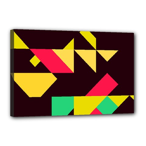 Shapes In Retro Colors 2 Canvas 18  X 12  (stretched) by LalyLauraFLM