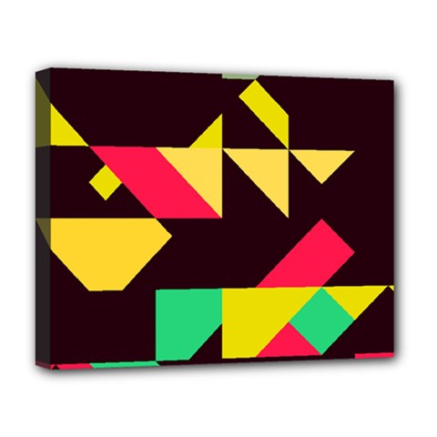 Shapes In Retro Colors 2 Deluxe Canvas 20  X 16  (stretched) by LalyLauraFLM
