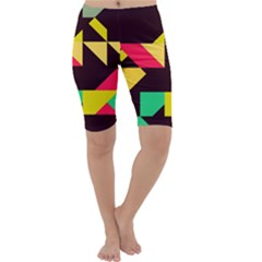 Shapes In Retro Colors 2 Cropped Leggings