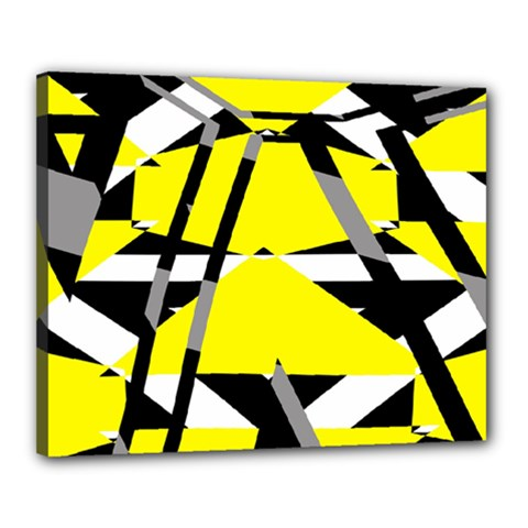 Yellow, Black And White Pieces Abstract Design Canvas 20  X 16  (stretched) by LalyLauraFLM