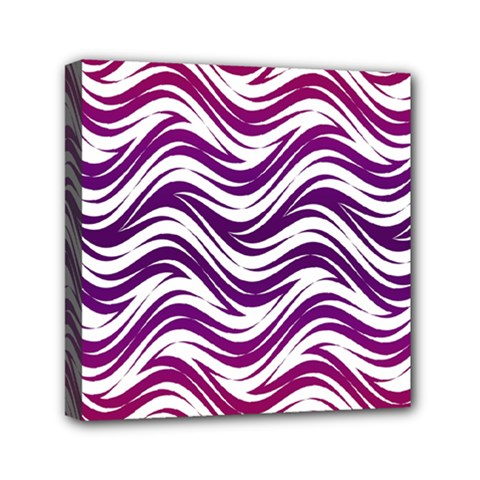 Purple Waves Pattern Mini Canvas 6  X 6  (stretched) by LalyLauraFLM