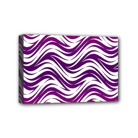 Purple Waves Pattern Mini Canvas 6  X 4  (stretched) by LalyLauraFLM
