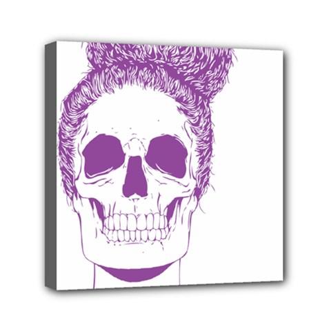 Purple Skull Bun Up Mini Canvas 6  x 6  (Framed) by vividaudacity