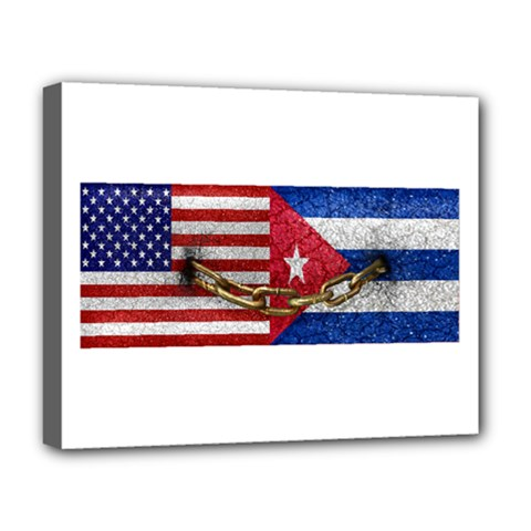 United States And Cuba Flags United Design Deluxe Canvas 20  X 16  (framed) by dflcprints