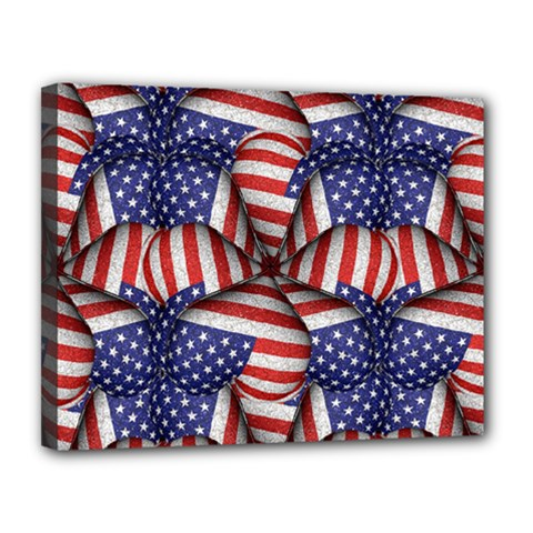 Modern Usa Flag Pattern Canvas 14  X 11  (framed) by dflcprints