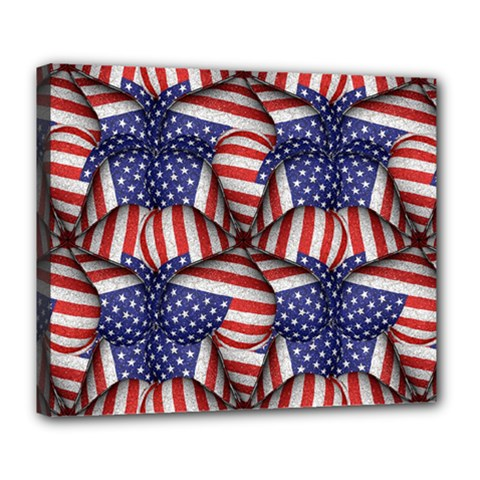 Modern Usa Flag Pattern Deluxe Canvas 24  X 20  (framed) by dflcprints