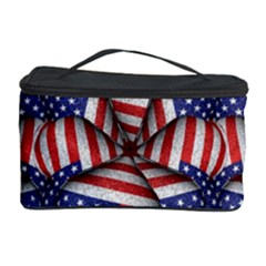 Modern Usa Flag Pattern Cosmetic Storage Case by dflcprints