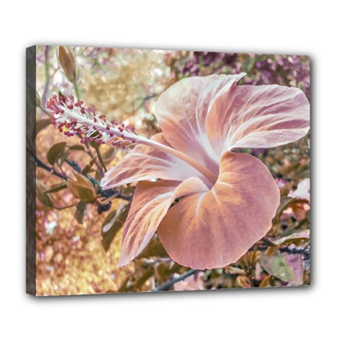 Fantasy Colors Hibiscus Flower Digital Photography Deluxe Canvas 24  X 20  (framed) by dflcprints