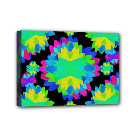 Multicolored Floral Print Geometric Modern Pattern Mini Canvas 7  X 5  (framed) by dflcprints