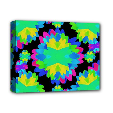 Multicolored Floral Print Geometric Modern Pattern Deluxe Canvas 14  X 11  (framed) by dflcprints