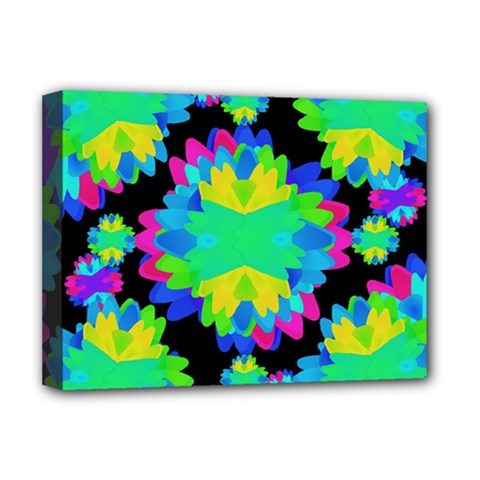 Multicolored Floral Print Geometric Modern Pattern Deluxe Canvas 16  X 12  (framed)  by dflcprints