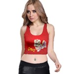 New Year, red, yellow, happy, fun, event, year, chinese new year - Racer Back Crop Top