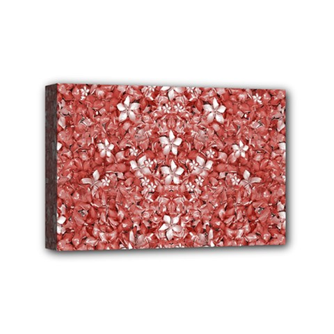 Flowers Pattern Collage In Coral An White Colors Mini Canvas 6  X 4  (framed) by dflcprints