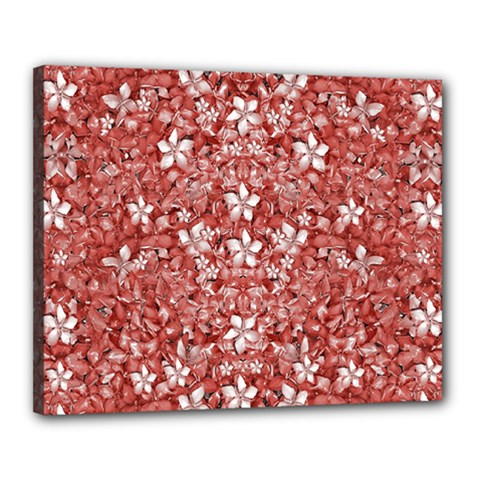 Flowers Pattern Collage In Coral An White Colors Canvas 20  X 16  (framed) by dflcprints