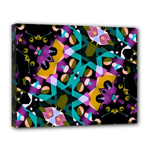 Digital Futuristic Geometric Pattern Canvas 14  X 11  (framed) by dflcprints