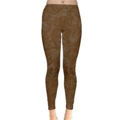Brown Fancy Print Leggings  by aopclothing