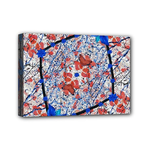 Floral Pattern Digital Collage Mini Canvas 7  X 5  (framed) by dflcprints