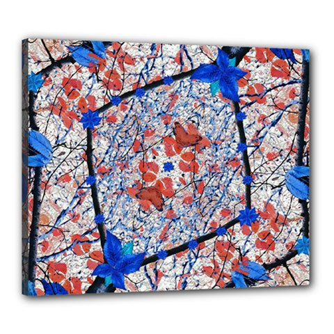 Floral Pattern Digital Collage Canvas 24  X 20  (framed) by dflcprints