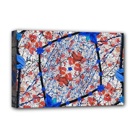 Floral Pattern Digital Collage Deluxe Canvas 18  X 12  (framed) by dflcprints