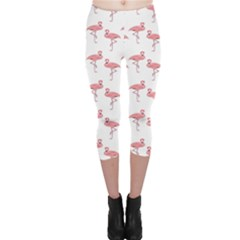 Pink Flamingo Pattern Capri Leggings  by CrypticFragmentsColors