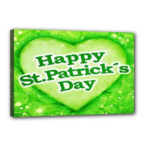 Unique Happy St  Patrick s Day Design Canvas 18  X 12  (framed) by dflcprints